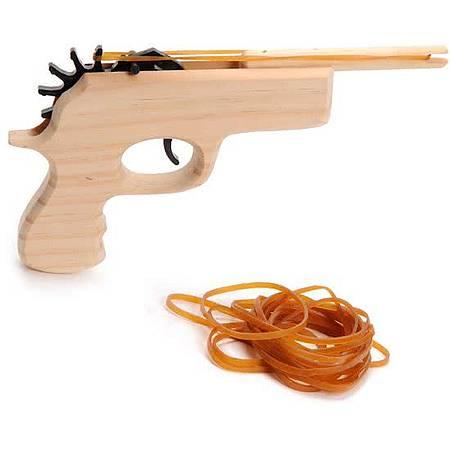 Houten pistool met elastiekjes